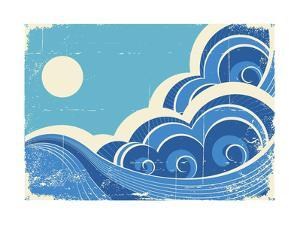 Abstract Sea Waves Grunge Illustration Of Sea Landscape by GeraKTV