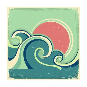 Abstract Seascape Poster With Sea Waves And Sun by GeraKTV