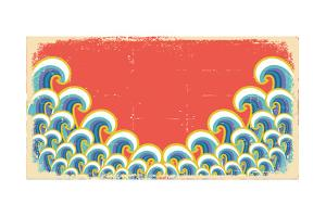 Abstract Waves Illustration On Vintage by GeraKTV