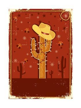 Cowboy Christmas Card for Text.Vintage Poster by GeraKTV