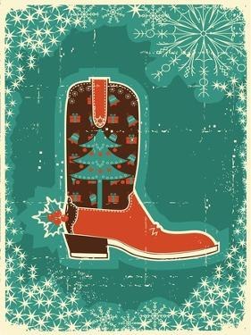Cowboy Christmas Card with Boot and Holiday Decoration.Vintage Poster by GeraKTV
