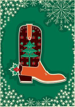 Cowboy Christmas Card with Boot Decoration by GeraKTV