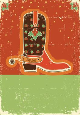 Cowboy Christmas Card with Boots and Holiday Decoration.Retro by GeraKTV