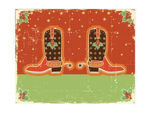 Cowboy Christmas Card with Boots and Holiday Decoration.Vintage Poster by GeraKTV