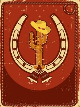 Cowboy Christmas  Card with Cactus and Winter Holiday Decoration for Text by GeraKTV