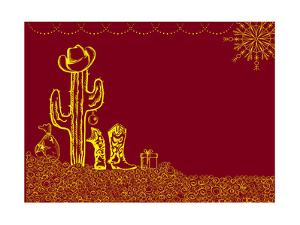 Cowboy Christmas Card with Holiday Elements and Decoration for Text by GeraKTV
