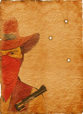 Cowboy In Mask, Bandit On White by GeraKTV
