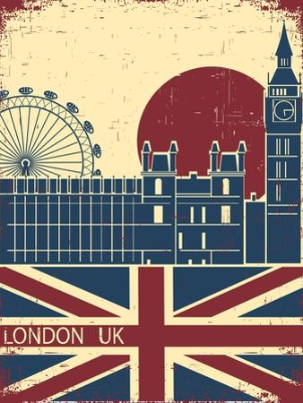 London Landmark.Vintage Background With England Flag On Old Poster