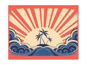 Paradise Island On Grunge Paper Background With Sun by GeraKTV