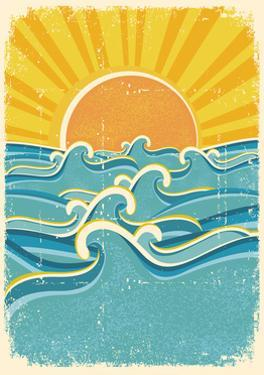 Sea Waves And Yellow Sun On Old Paper Texture.Vintage Illustration by GeraKTV
