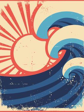 Sea Waves Poster.Grunge Illustration Of Sea Landscape by GeraKTV