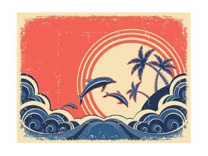 Seascape Waves Poster With Dolphins Grunge Illustration On Old Paper by GeraKTV