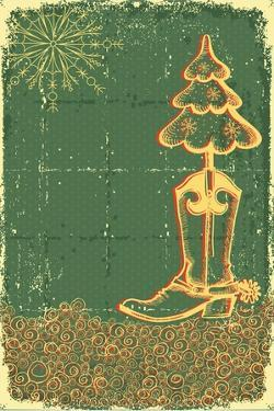 Vintage Christmas Green Card with Cowboy Boot and Fir-Tree on Old Papaer Texture by GeraKTV