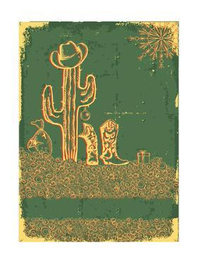 Vintage Cowboy Christmas Card with Holiday Elements and Decoration by GeraKTV