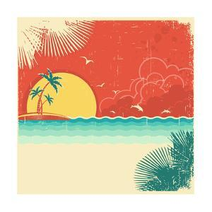 Vintage Nature Tropical Seascape Background With Island And Palms Decoration On Old Paper Poster by GeraKTV