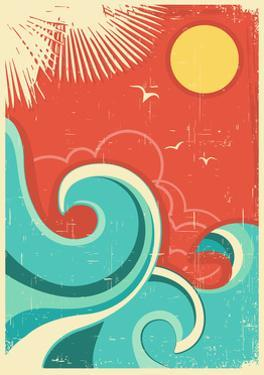 Vintage Tropical Background With Sea Waves And Sun by GeraKTV