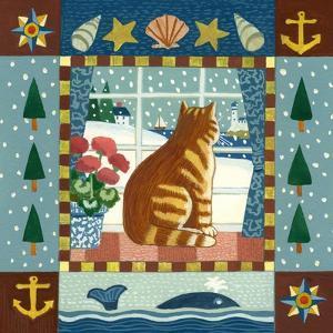 Folk Art Cat Winter by Geraldine Aikman