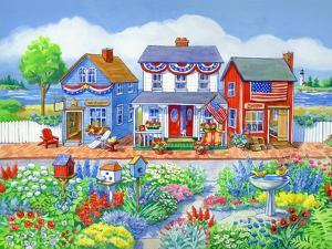 Red White and Blue Shops by Geraldine Aikman