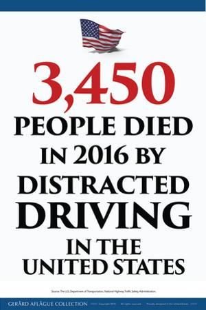 Distracted Driving Death Statistics (USA) by Gerard Aflague Collection