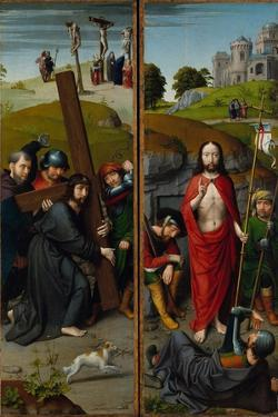 Christ Carrying the Cross, with the Crucifixion; The Resurrection, with Pilgrims of Emmaus, 1510 by Gerard David