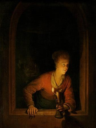 Girl with Oil Lamp at a Window