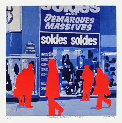 Boulevard des Italiens : Soldes soldes by Gérard Fromanger