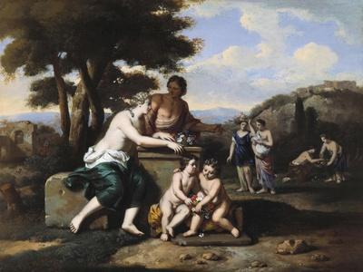 Nymphs Gathering Flowers in a Landscape