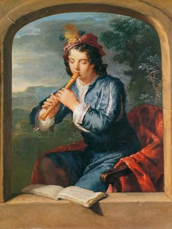 Young Man Playing the Flute