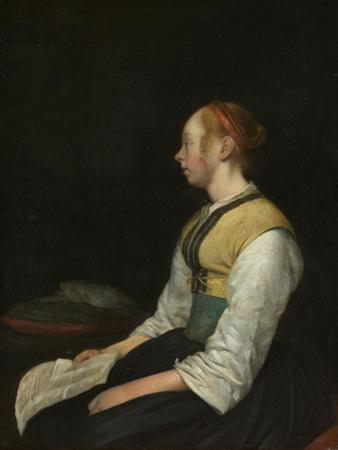 Seated Girl in Peasant Costume, c. 1650-60 by Gerard ter Borch or Terborch