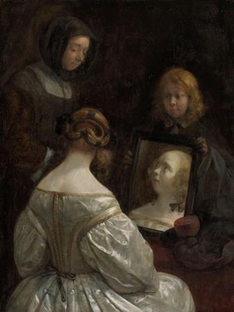 Woman at a Mirror, c. 1652 by Gerard ter Borch or Terborch