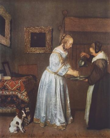 A Lady, Cleaning her Hands by Gerard Terborch