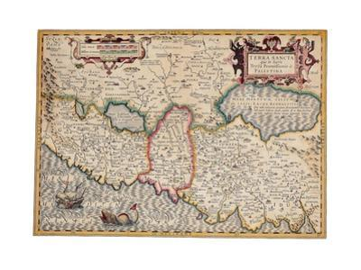 Map of the Holy Land, from 'Atlas Sive Cosmographicae Meditationes' by Henricus Hondius,…