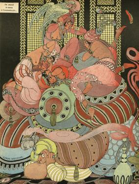 Harem Ladies Scared of the Sound of Bombing, WW1 by Gerda Wegener