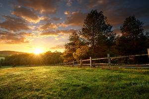 Picturesque Landscape, Fenced Ranch at Sunrise by Gergely Zsolnai