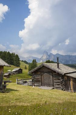 Alpine Huts at the Plateau of the Pralongia, St. Kassian, Val Badia, South Tyrol, Italy, Europe by Gerhard Wild