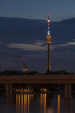 Austria, Vienna, Donauturm (Danube Tower), Underground Station, Evening by Gerhard Wild