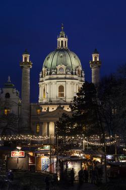Austria, Vienna, Karlsplatz, Christmas Market, Karlskirche by Gerhard Wild