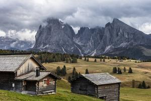Europe, Italy, the Dolomites, South Tyrol, Seiseralm, Langkofel and Plattkofel, Alpine Huts by Gerhard Wild
