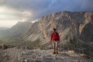 Hiker 'Sass De Stria' (Mountain), in Front of the Piccolo Lagazuoi, Province of Belluno by Gerhard Wild