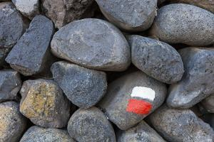 Marking for Hikers on a Stone Wall, La Palma, Canary Islands, Spain, Europe by Gerhard Wild