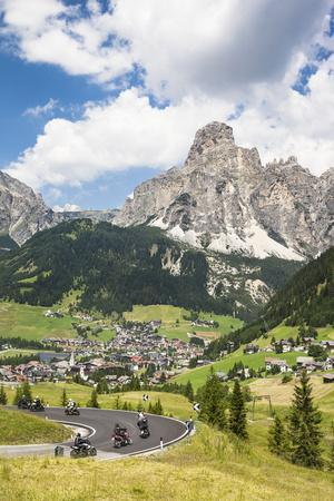 Motorcyclists, Corvara, the Sassongher, Behind the Dolomites, South Tyrol, Italy, Europe