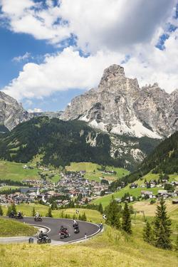 Motorcyclists, Corvara, the Sassongher, Behind the Dolomites, South Tyrol, Italy, Europe by Gerhard Wild