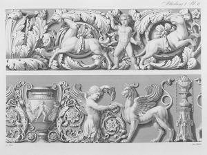 Designs for Classical Friezes, from 'Precision Book of Drawings', 1856 (Engraving) by German