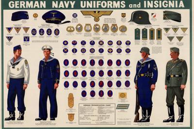 German Navy Uniforms and Insignia Chart WWII War Propaganda Art Print Poster