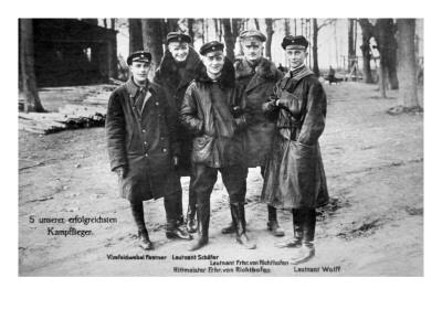 Baron Von Richthofen with Fellow Pilots, Including His Brother Lothar