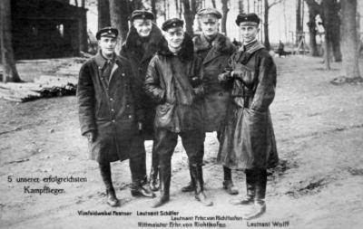 Baron Von Richthofen with Fellow Pilots, Including His Brother Lothar by German photographer