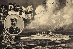 Künstler Ak Deutschland Voran, Kriegsschiff, Kaiser Wilhelm II, Patriotik by German photographer