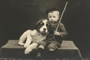 Little boy with dog (b/w photo) by German photographer