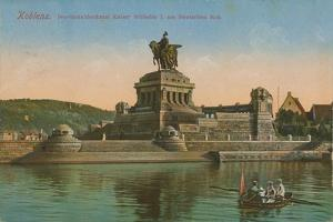 Monument to Kaiser Wilhelm I, Koblenz. Postcard Sent in 1913 by German photographer