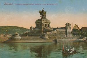Monument to Kaiser Wilhelm I, Koblenz. Postcard Sent in 1913 by German photographer